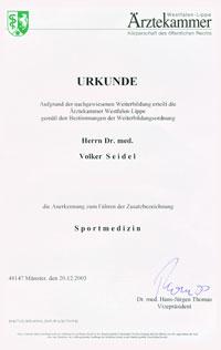 Sportmedizin Urkunde Zusatzbezeichnung