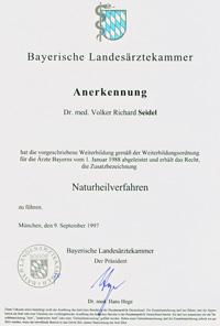 Naturheilverfahren Urkunde Zusatzbezeichnung